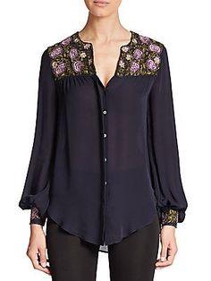Haute Hippie Silk Button-Down Shirt - Midnight - Size