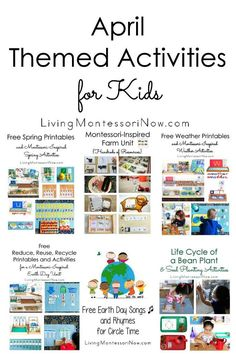 LOTS of themed activities that can be used for calendar observances throughout April ... Montessori-inspired activities for a variety of ages for home or classroom - Living Montessori Now Calendar Activities, Spring Activities, Craft Activities, Farm Unit, Kids House, Parenting Hacks, Montessori, Little Ones, Kindergarten