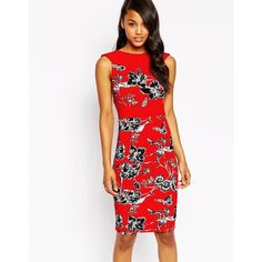 Vesper Blossom Midi Dress ($63) ❤ liked on Polyvore featuring dresses, red, flower dress, red dress, floral midi dress, mid calf dresses and red body con dress