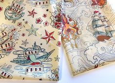 New Urban Threads fabric from Spoonflower, coordinating with our Seven Seas series.