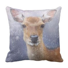 christmas winter deer in snow pillow cushion - Xmas ChristmasEve Christmas Eve Christmas merry xmas family kids gifts holidays Santa