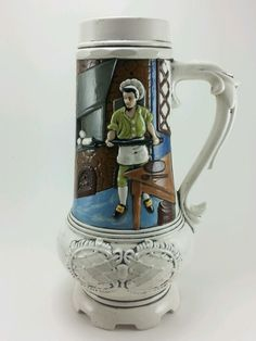 Colourful Vintage Ceramic LOMA Beer Stein. 10in