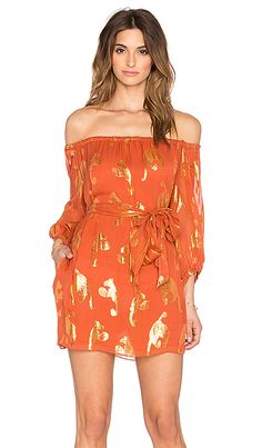 RACHEL ZOE Frankie Off Shoulder MIni Dress in Cinnamon