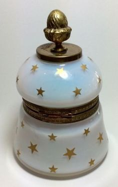 Antique French Opaline Glass Brass Inkwell Circa 1880
