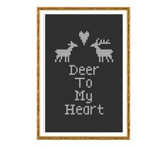 Make a cute and easy cross stitch that says Deer to my Heart. This pattern arrives as an Instant Download!  A few minutes after your payment is