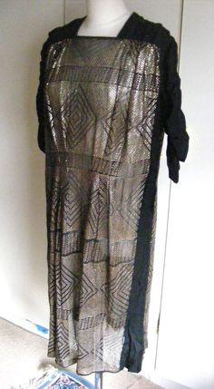 Vintage 1920s Assuit Egyptian silver flapper dress on black silk size 12-14