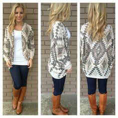 Mocha Aztec Light Knit Cardigan