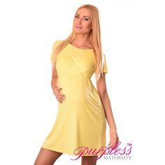 Comfortable 2in1 Maternity and Nursing Dress 7200 Yellow Maintain your pre-bump style throughout your pregnancy with our comfortable and affordable 2 in 1 maternity and nursing dress. This short sleeved dress with inner fabric in the neckline has been designed by Purpless to give you comfort and style during your pregnancy and whilst breastfeeding.