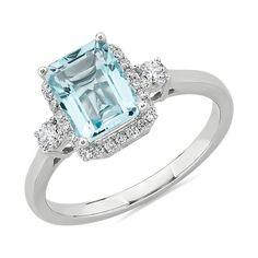 Saphire Ring, 14k Gold Ring, White Gold Rings, White Gold Diamonds, Round Diamonds, Aquamarin Ring, Aquamarine Pendant, Birthstone Jewelry, Halo Diamond