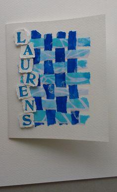 Kaartje - gevlochten papier beschilderd en bestempeld met acrylverf. Ontwerp Marjolein Copius Peereboom