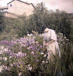 Color photographs of Edwardians, 1910's. Autochromes, not colorized