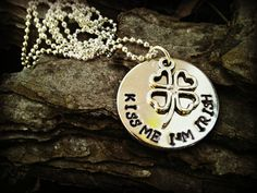 Kiss Me I'm Irish Hand Stamped Necklace by CharmletteDesigns, $26.00