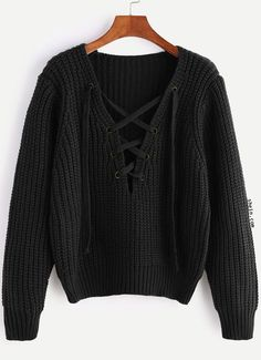 Retro Fashion Jacket Black V Neck Lace Up Chunky Knit Sweater.Retro Fashion Jacket Black V Neck Lace Up Chunky Knit Sweater Winter Sweaters, Sweater Weather, Long Sweaters, Loose Knit Sweaters, Cropped Sweater, Cute Comfy Outfits, Casual Outfits, Girls Fashion Clothes, Fashion Outfits