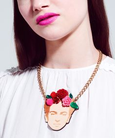 "Frida Necklace -- ""Feet, why do I need you for, when I have wings to fly?"""