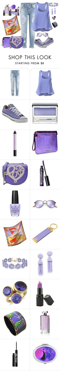 """""""She dreams in lavender."""" by winscotthk ❤ liked on Polyvore featuring Dsquared2, Converse, Clinique, shu uemura, Mohzy, Love Moschino, Pop Beauty, OPI, Ray-Ban and Laura Biagiotti"""