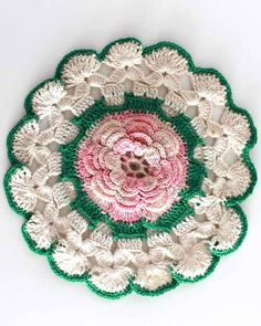 """Edited By: Maggie Weldon Skill Level: Intermediate Sizes: Pink & White Dress - About 5½"""" at Yoke, 8½"""" long. Flower Appliquéd Square - About 8"""" square. Antique Rose - About 6½"""" diameter. Pink Poppy - A"""