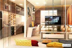 Soluções que otimizam o espaço pequeno neste meu projeto em 3D de apartamento compacto de 47m². As divisórias e o painel de vidro, aumentam nosso campo de visão e por serem transparentes dão ainda mais amplitude e evitam a sensação de confinamento que muitas vezes o excesso de paredes transmite. #studio #camilakleinarquiteta #smallspaces #tinyspaces #compactapartment #apartamentocompacto #interiordesign #arquitetura #architecture #apartamentopequeno #projetoem3D