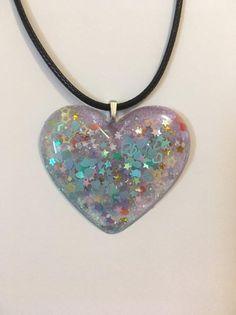 1471fcb8082 Glitter heart resin pendant necklace  resin  resinjewelry  heartpendant   heart  necklace  choker  cordnecklace  handmadejewelry  etsy  forsale ...