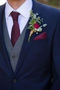 Navy Blue and Burgundy Wedding #GroomsFashion #Navy #Burgundy #MensStyle #Tiesdotcom