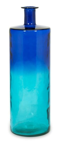 Dark Blue and Deep Turquoise Tall Oversized Recycled Glass Vase