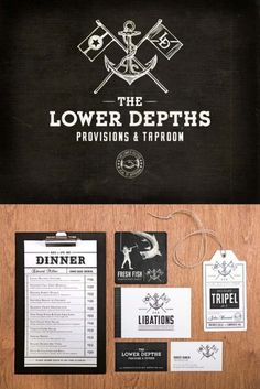 Naval themed identity for The Lower Depths restaurant. Check out Commoner Inc for more of Richard Stewards work.