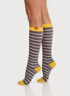 Women's Nautical Stripes: Grey & White + Yellow Heel (Nylon) offers moderate-severe compression mmHg) - appropriate for all day, everyday wear. Calf Compression Socks, Compression Stockings, Compression Clothing, Nylons, Nautical Stripes, Yellow Stripes, Trouser Socks, Yellow Heels, Grey And White