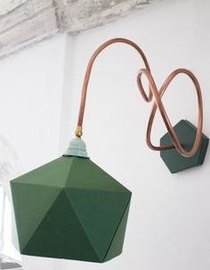 Green. Wall lamp / applique copper paper and wood. by Ideesign