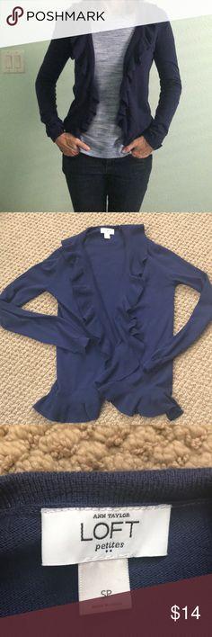 Ann Taylor Loft Blue/purple cardigan SP Ann Taylor loft petites cardigan.  Super pretty blue purple color.  Ruffled neckline. In good shape.  Small petite LOFT Sweaters Cardigans
