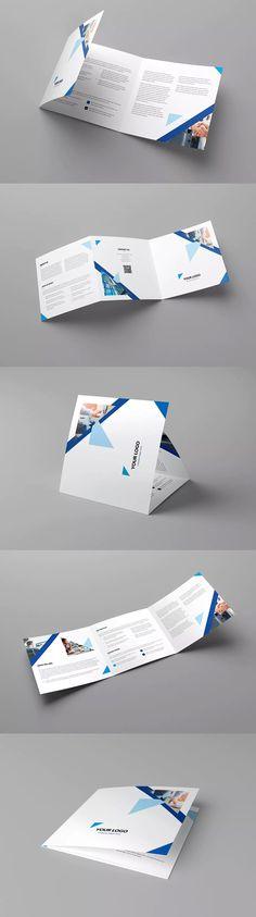 Triangle Multipurpose Tri-Fold Square Brochure Template PSD #unlimiteddownloads
