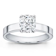 This flat edge solitaire engagement setting is made with sleek straight lines and is available in white gold, yellow gold, or platinum.