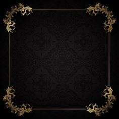 Elegante marco dorado sobre un fondo neg. Black Background Wallpaper, Book Background, Framed Wallpaper, Vector Background, Background Patterns, Textured Background, Background Images, Golden Background, Bg Design
