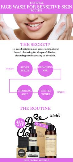 Finding a perfect face wash for sensitive skin routine isn't easy, I know from personal experience. Today let me share my fool proof cleansing routine! - http://www.wishtrendglam.com/face-wash-for-sensitive-skin-routine/ #facewash #sensitive #skin #sensitiveskin #face #wash #tips #routine #oil #cleansingoil #charcoal #soap #toner #klairs #skincare #korean