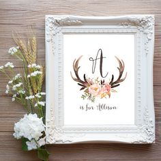 Antler Nursery Wall Art Printable Baby Name Digital Download, Girl Tribal Woodland Baby Shower Decor, Deer Floral Personalized Gift