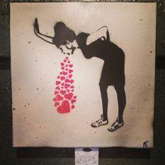 Banksy tribute spraypaint stencil work urban art