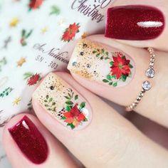 Christmas Nail Stickers, Christmas Nail Designs, Christmas Nail Art, Trendy Nail Art, Nail Art Diy, Cool Nail Art, Dry Nail Polish, Dry Nails, Winter Nail Art