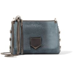 Jimmy Choo Lockett Petite glittered suede shoulder bag ($1,335) ❤ liked on Polyvore featuring bags, handbags, shoulder bags, blue, shoulder hand bags, blue suede purse, jimmy choo purses, shoulder handbags and travel purse