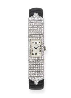 A LADYS ART DECO DIAMOND WRISTWATCH, BY CARTIER #bijoux, #bijouxfantaisiefemme, #montresfantaisies, #montresfemme