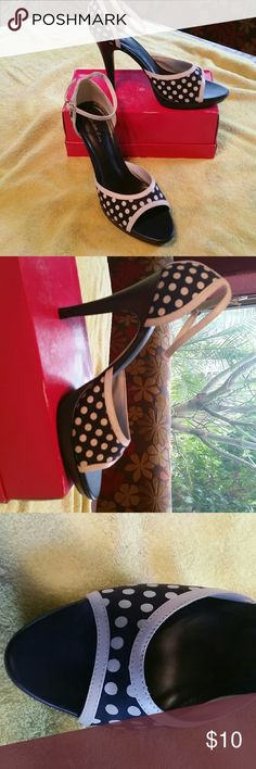 "High heel shoes Navy blue and white dots. 4"" heel never worn Charlotte Russe Shoes Heels"