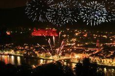 Fireworks over Heidelberg Castle, Heidelberg, Germany, on the Neckar River. It's worth seeing once. Bastille Day, Christmas Travel, Fireworks, Castle, Germany, Holiday Decor, Places, Destinations, Childhood