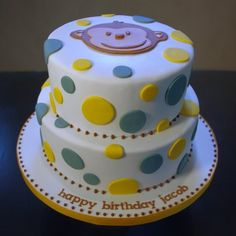 Mod Monkey & Polka Dot Birthday Cake by wickedcakechick, via Flickr