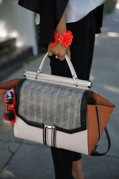 J Crew beaded rose bracelet,  Allie whip-stitch satchel via BCBG