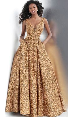 JVN Prom by Jovani 2020 Prom Dresses, Pageant, Homecoming and Formal Dresses Animal Print Plunging Neckline Prom Ballgown with Pockets Long African Dresses, Latest African Fashion Dresses, African Print Dresses, African Print Fashion, Modern African Fashion, Africa Fashion, Ball Gowns Prom, Prom Ballgown, Prom Dresses
