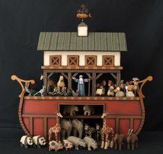 Hand carved Wood Noah's Ark by ArksAndAngelsMDallas on Etsy
