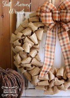 DIY Fall Harvest Wreath idea using burlap! Easy Craft and Decor Ideas for Thanksgiving and Christmas!