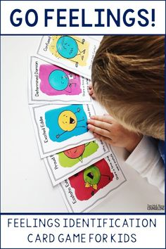 """Go Feelings counseling card game can be played like """"Go Fish"""" or """"Memory."""" A perfect game for school counselors or social workers, the game helps students practice feelings identification and expression with 20 different emotions. Includes instructions, 40 cards, and post-game discussion points."""