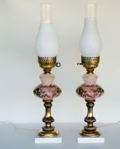 Vintage Table Lamp Pair Hand Painted Glass Marble by LittleHouzz, $125.00