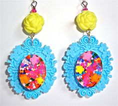 Kawaii kitsch earrings - candy resin set in sky blue vintage shabby chic frames with yellow acrylic vintage rose beads.