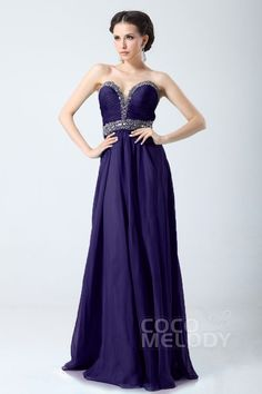 New Style Sheath-Column Sweetheart Floor Length Chiffon Prom Dress with Draped and Crystals COZF14053 #cocomelody