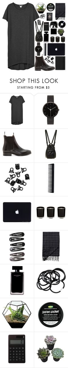 """all_black."" by reina-a ❤ liked on Polyvore featuring Monki, FiloFax, I Love Ugly, Acne Studios, H&M, GHD, Clips, Passport, Narciso Rodriguez and Muji"