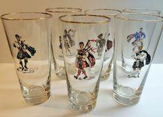 Set of 6 Vintage Scottish Highlander Clan Tartan Kilt Drinking Glasses / Tumblers